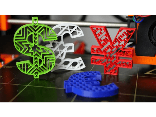3d printed Currency Symbols in green, white, red and blue PLA