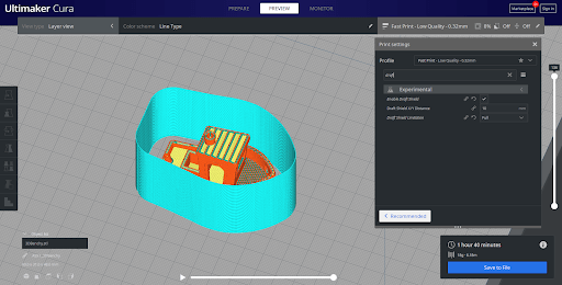 Cura Slicers having a draft shield option for 3d printing