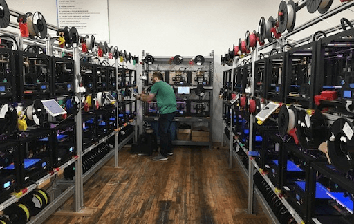 3d printing business with tons of 3d printers and 3d printer materials
