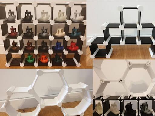 Customizable Modular Square Hex Shelf
