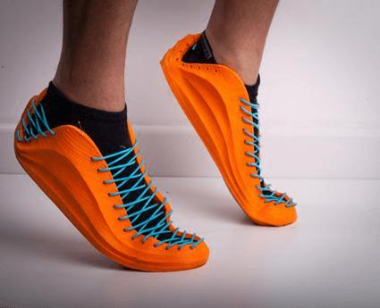 fpe filament 3d printed orange rubber shoes