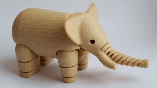 wood 3d printed filament elephant